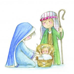 delightful card depicting the Nativity
